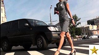 Sexy slender European teen in high heels upskirt outside