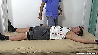 Tied up amateur guy enjoys while his kinky neighbor tickles him