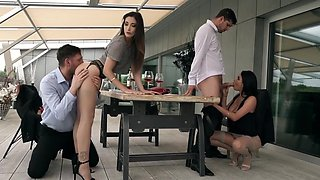 Beauty with erect Tits swapping husbands and start group fucking on th...
