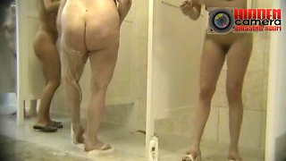 A group of MILFs having a shower on a hidden cam video