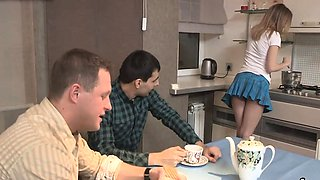 Indebted stud lets slutty buddy to penetrate his lover for c