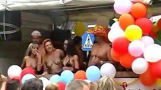 Upskirt fingering at a street fetish festival with plenty of hot scenes