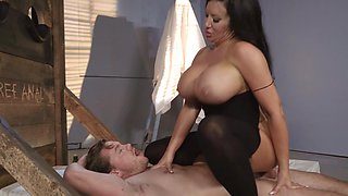 Wicked thick milf swallows his cock with her hot pussy