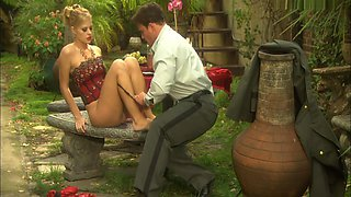 Couple Make Sex In The Garden