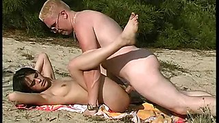 18 yo brunette out on the beach fucking and getting cumshot
