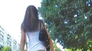 Upskirt cam spies chicks thong view