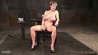 Tightly restrained miserable fuck doll Darling gets her boobies tied and her fuck holes nailed hard
