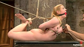 Gorgeous Squirting Orgasmic Rope Slut Gets Bound and Defiled