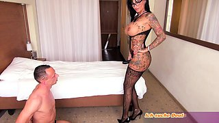 german femdom milf fucks guy with strapon until cumshot