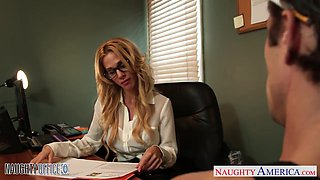 Milf boss Sarah Jessie is fucked by one her workers right on the table