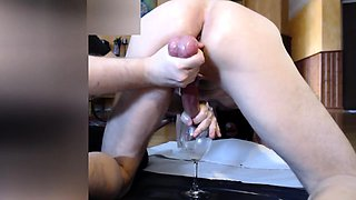 Kinky guy with a hot ass has his lover milking his big dick