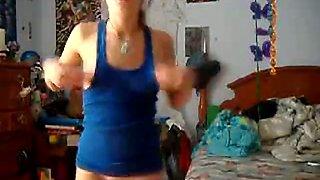 Very Cute Petite Teenie Dancing and Self Satisfying