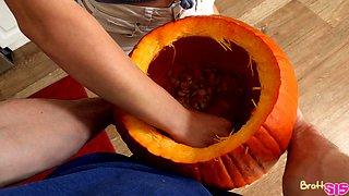 Dick in pumpkin prank on stepsister Aubrey Sinclair