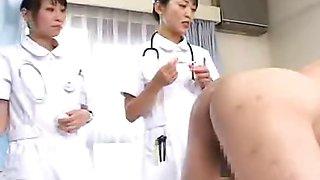 Japan nurses examine patents anus while pumping cock