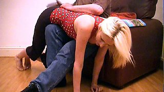 Blonde spanked first on black pantyhose then slippered on white panties