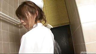 Horny nurse Mio Hiragi in the shower masturbating