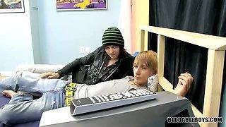 Cuties watch gay porn and make gay porn