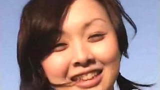 Bouncy Asian big tits exposed on a camera in public