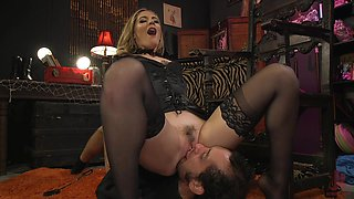 Mature blonde Mistress Mona Wales works her magic on a male sub