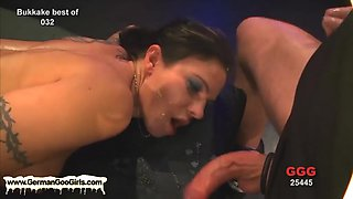 Four babes get boned and jizz drenched