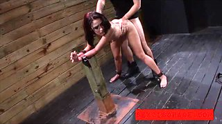 Ava is chained to post and fucked hard
