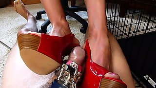 Dominant amateur babe in high heels punishes a meat prick