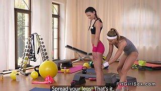 Slim fit lesbians fingering at the gym