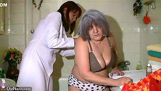 Charming Nurse Shower Grannygranny, With Grandpa Have Sex