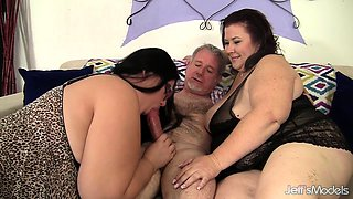 Plumper Hotties Share a Lucky Old Cock