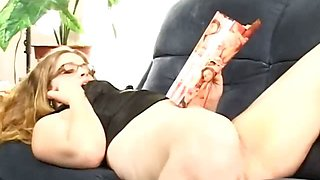 Blonde slut playing vibrator while smoking