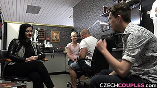 Foursome Group Sex in Public BarberShop