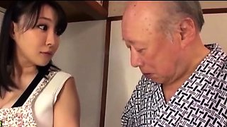 Young girl with big boobs fucks with old man