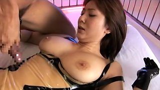 Horny Japanese slut Yuma Asami in Exotic Stockings, Fingering JAV scene