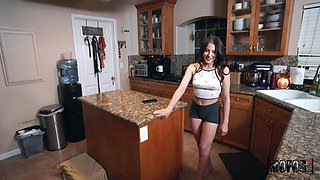 Spoiled and sexy hottie Aubree Valentine has nothing against fucking in the kitchen