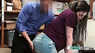 Chubby chick has no other option than to let her cop stepdad bang her
