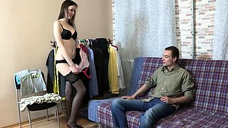 Watching his beautiful girlfriend try on a new erotic