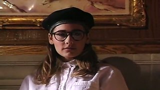 Sweet and nerdy young French chick on the couch is easy