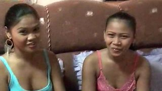 Two Pinay lesbians are taking a shower and licking pussies on the bed