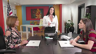 Three fucking awesome lesbians are making love in the office