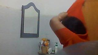 Indian Bengali Milf Aunty Changing Saree in Bathroom