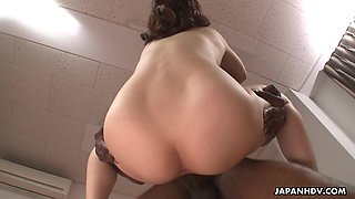 Shaved Japanese pussy is properly licked by horny black stud 69