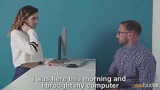 Penelope Cum - Nerdy Babe Gets Her Pussy Pounded On The Office Desk