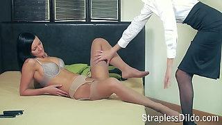 Skinny office lady in pantyhose rides a feeldoe