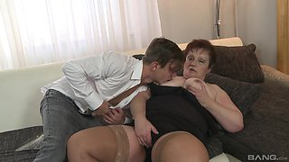 Lad fucks his chubby aunt and cums on her fat tits