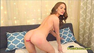 Cute Teen WithTiny Tits Gently Masturbates With a Big Vibrat