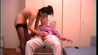 Skinny brunette getting her way with a younger cock