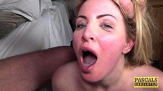 Smoking hot Georgie Lyall enjoys playing with a monster cock