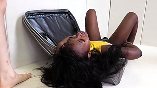 Hot ebony slave does anal for the first time