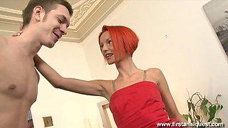 Petite teen redhead anal fuck