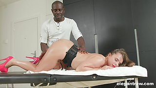 An ebony masseur tempts curvy white woman with his big black cock